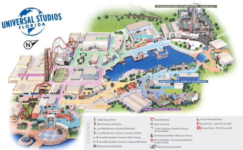 Freizeitpark Karten Universal Studios Florida