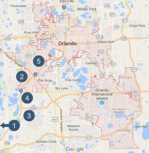Karte für Hotel in Orlando