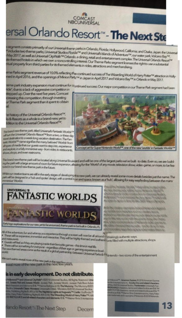 Universal's Fantastic Worlds Infoblatt
