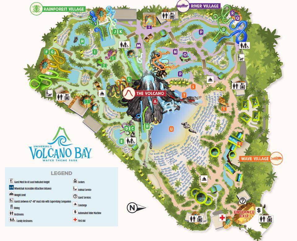 Universal's Volcano Bay Karte